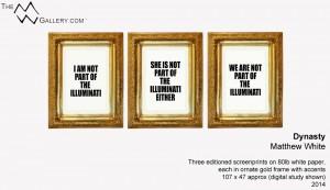 Three screenprints in ornate gold frames.