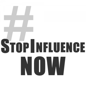 #StopInfluenceNow hashtag activism.