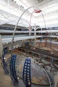 View of the sculpture in concourse A of the Denver International Airport entitled Dual Meridian.