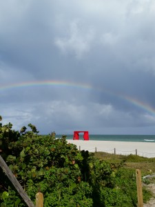 Rainbow over Art Basel Miami week at the beach.