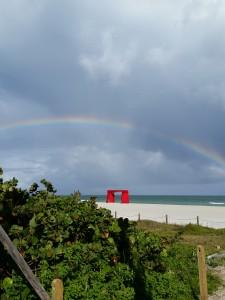 Rainbow over Art Basel Miami week at the beach.