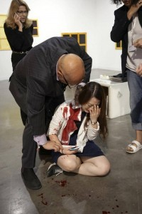 Bloodied fair goer at Art Basel Miami 2015