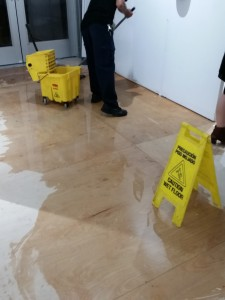 Localized flooding in an art fair.